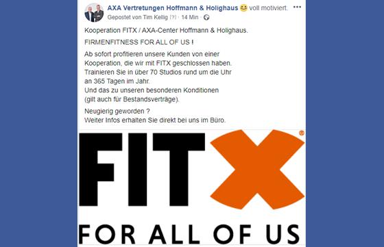 Kooperation FITX / AXA Center Hoffmann & Holighaus - Firmenfitness for all of us!