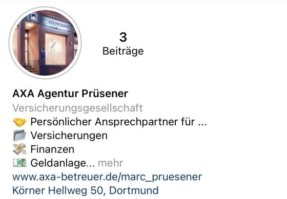 Wir sind neu auf Instagram ! - So finden Sie uns : axa_pruesener