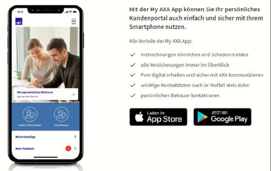 My AXA  -  jetzt auch als App - Darüber kannst Du Deine Verträge einfach verwalten und sogar Rechnungen zu Deiner Krankenversicherung direkt