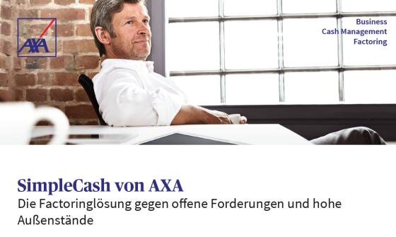 SimpleCash von AXA - Factoringlösungen für Firmenkunden - Auch für das Baunebengewerbe. Schaffen Sie sich Freiraum, Sicherheit und mehr Liquidität durch Factoring.